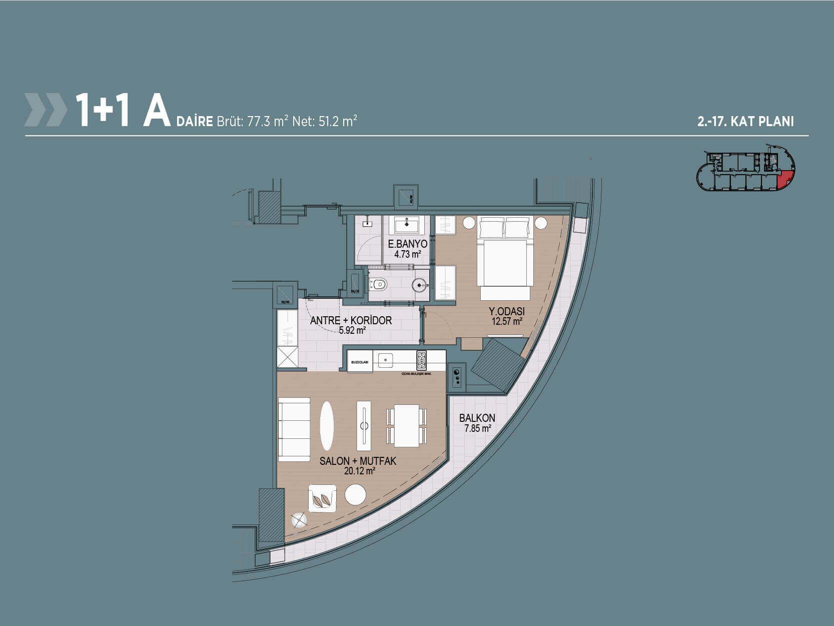 1+1 Style Floor Plan