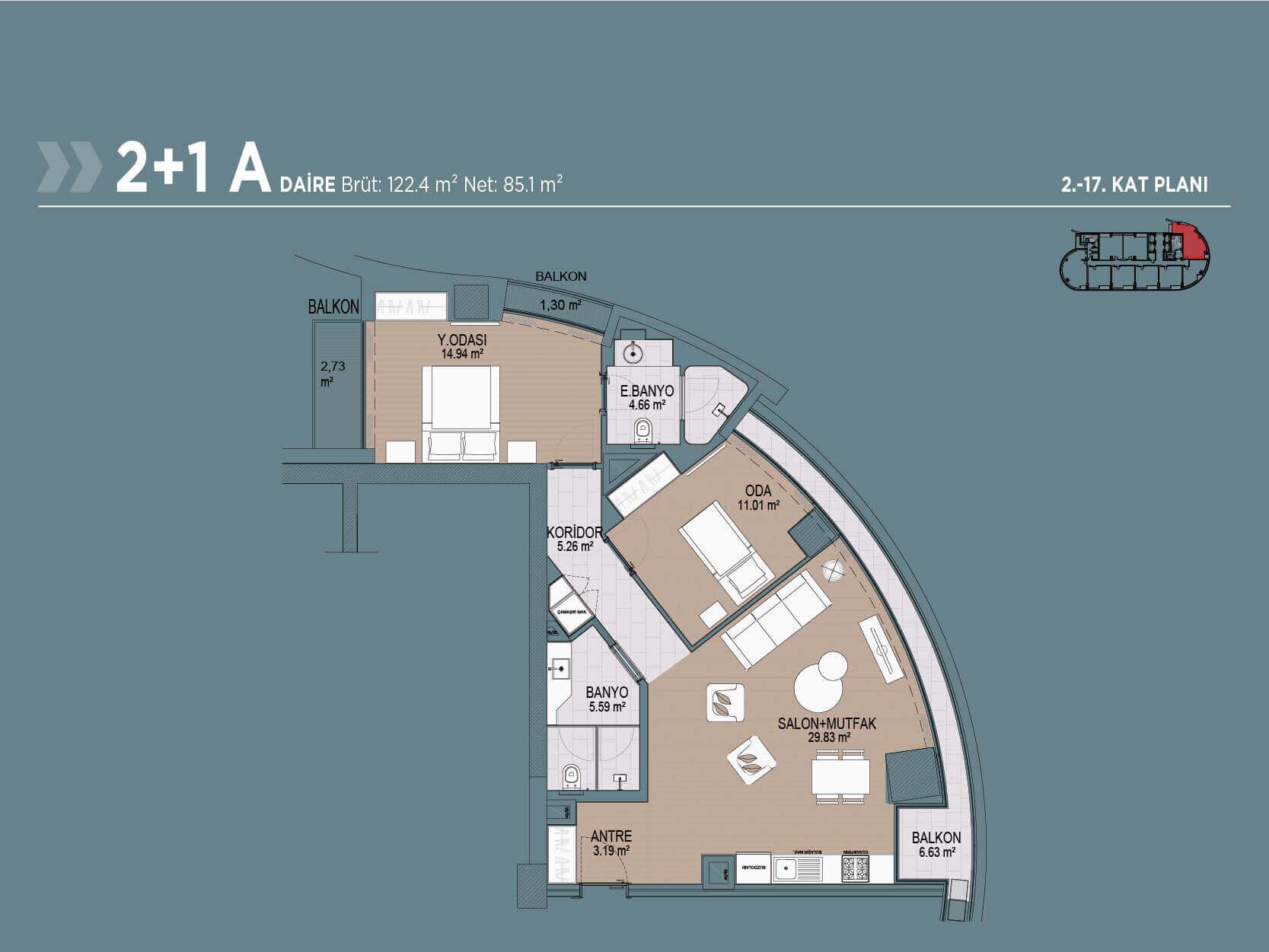 2+1 Floor Plan