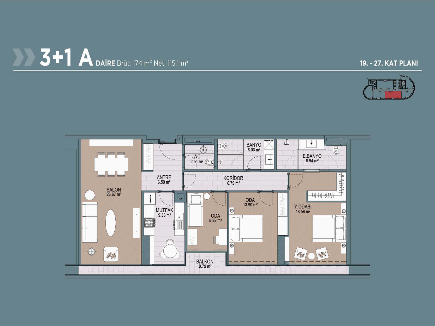 3+1 Floor Plan